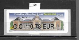 ????  **  Exposition Philatélique é-max Valenciennes 2018    Faciale 0.78 €   25/18  69 - 2010-... Vignette Illustrate