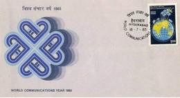 INDIA - 18 7 1983 FDC ANNO MONDIALE COMUNCAZIONI - FDC