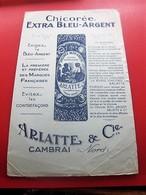 ARLATTE & CIE CAMBRAI - Buvard Collection Illustré CAFE CHICOREE BLEU ARGENT  BUVARD Publicitaire Publicité - Coffee & Tea