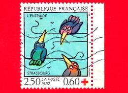 FRANCIA - Usato - 1992 - Croce Rossa - Mutual Assistance - Strasbourg - Uccelli - 2.50+0.60 - Usati