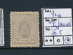 "LUXEMBOURG PRIFIX 42a ""PAPIER JAUNE"" WITH GUM LH - 1859-1880 Wappen & Heraldik"
