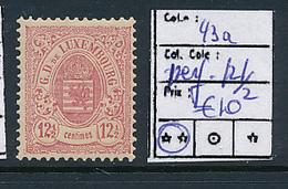 LUXEMBOURG PRIFIX 43a PERFORATION 12 1/2 MNH - 1859-1880 Wappen & Heraldik
