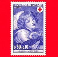 Nuovo - ML - FRANCIA - 1971 - Greuze (1725-1805) - Ragazza Con Il Piccolo Cane - Croce Rossa - 0.30+0.10 - Nuovi