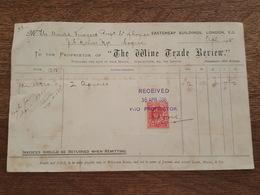1905 - London - The Wine Grade Review, Eastcheap Buildings, Cognac J.G. Monnet - Timbre Fiscal, Stamp Postage & Revenue - Royaume-Uni