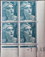 R1949/457 - 1945 - TYPE MARIANNE DE GANDON - N°713 BLOC NEUF** CdF Daté - Ecken (Datum)