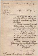 VP14.677 - PONTIVY 1871 - Lettre De Mr Le Sous Préfet  Objet Demande D'Emploi Dans Les Postes à Mr Le Maire De GUEMENE - Documents Historiques
