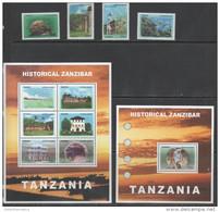 TANZANIA, 2007, MNH, HISTORICAL ZANZIBAR, CORALS, FISH, MONKEYS,BUILDINGS, 4v+SLT+S/S - Marine Life