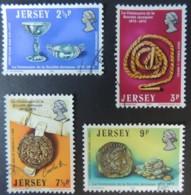 JERSEY 1973 CENTENARY OF LA SOCIETE JERSIAISE SET OF 4 VFU COINS ARTEFACTS ROYAL SEAL - Jersey
