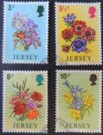 JERSEY 1974 SPRING FLOWERS SET OF 4 VFU - Jersey