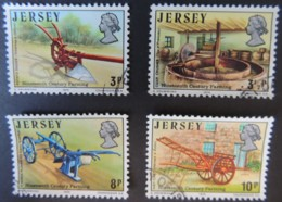 JERSEY 1975 19th CENTURY FARMING SET OF 4 VFU POTATO DIGGER CIDER CRUSHER HORSE PLOUGH HAY-CART - Jersey