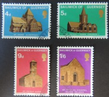 GUERNSEY 1970 CHURCHES SET OF 4 VFU ST PETERS SARK ANNES ALDERNEY TUGUAL CHAPEL HERM RELIGION - Guernsey