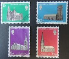 GUERNSEY 1971 CHURCHES SET OF 4 VFU EBENEZER PETER PORT ST PIERRE DU BOIS JOSEPH PHILIPPE DE TORTEVAL - Guernsey