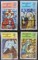 GUERNSEY 1973 CHRISTMAS SET OF 4 VFU RELIGION STAIN GLASS WINDOWS - Guernsey