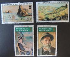 GUERNSEY 1974 RENOIR PAINTINGS SET OF 4 VFU ART - Guernsey