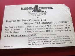 CRAYONS MAISON DU DESSIN ROUEN -BUVARD Coupé Collection Illustré Publicitaire Publicité Librairie Papeterie - Stationeries (flat Articles)