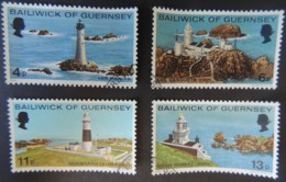 GUERNSEY 1976 LIGHTHOUSES SET OF 4 VFU LES HANOIS CASQUETS QUESNARD POINT ROBERT - Guernsey