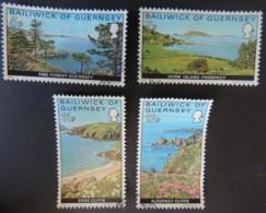 GUERNSEY 1976 VIEWS SET OF 4 VFU PINE FOREST HERM JETHOU GRAND GREVE BAY SARK TROIS VAUX BAY ALDERNEY - Guernsey