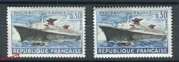 Variété N°Yvert 1325 - Paquebot France - 1 Exemplaire Bleu Clair + 1 Normal Neufs Luxe - Prix Fixe !! - Varieties: 1960-69 Mint/hinged