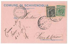 AP8    Regno 1925 Cartolina Comune Di Schivenoglia Con Annullo Frazionario Per Pieve Di Coriano - Storia Postale