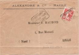 10c Obl Rare Grève Mai 1909 Chambre De Commerce Du Havre  - Semeuse 138 - Marcophilie (Lettres)