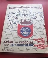 CREME AU CHOCOLAT MONT BLANC  ALIMENTATION  -BUVARD Collection Illustré Publicitaire Publicité Alimentaire Chocolat - Cocoa & Chocolat