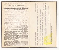 DP Alphonse A. Blomme ° Deerlijk 1869 † 1946 X Alida Vandenbroucke / Ovaere Waelkens Malfait Bleuze Ottevaere - Devotieprenten