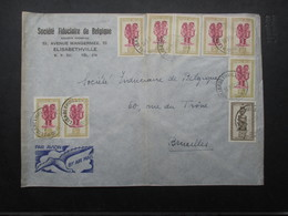 TIMBRES (V1905) CONGO BELGE (12 Vues) ENVELLOPPE VERS BRUXELLES COMPRENANT 9 TIMBRES - OBLITERATION ELISABETHVILLE - Congo Belge