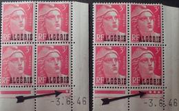 R1949/460 - 1946 - COLONIES FR. - ALGERIE - TYPE MARIANNE DE GANDON - 2 BLOCS N°238  CdF TIMBRES NEUFS** Datés - Algérie (1924-1962)