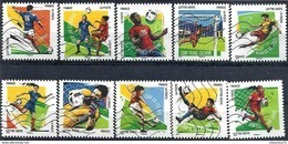 FRANCE AUTOADHESIFS OBLITERES-SERIE COMPLETE-N° YVERT 1278 A 1287 CARNET FOOTBALL VOS 10 GESTES ANNEE 2016 - Luchtpost