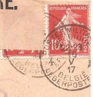 10c Rare Obl Postes Militaire Belges 4 En Mai 1917+ Censure 57 + Cachet Arrivée Hollandais - Semeuse 138 - Marcophilie (Lettres)