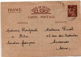 Carte Iris Utilisée à Kita Soudan 1941 - Scan Recto-verso - Oblitération Moyenne - Seconde Guerre Mondiale - Entiers Postaux