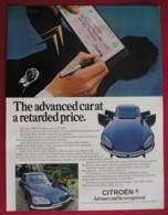 ORIGINAL UNDATED  MAGAZINE ADVERT FOR  1969 CITROEN MOTOR CAR - Advertising