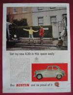 ORIGINAL 1956  MAGAZINE ADVERT FOR  AUSTIN A30  MOTOR CAR - Advertising