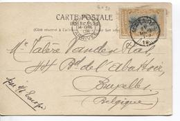 2931/ TP 20 S/CP Petit Poste De L'Etat (Haut Congo) C.Matadi 31/31908 Par SS Europe V.BXL C.d'arrivée 14/4/1908 - Belgisch-Kongo