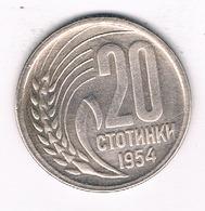 20 STOTINKI 1954   BULGARIJE /3209/ - Bulgarie