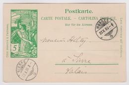 SUISSE 1900 : Entier UPU DeMorges Pour Sierre - 1882-1906 Armoiries, Helvetia Debout & UPU