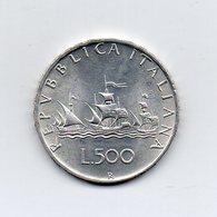 """ITALIA - 1964 - 500 Lire """"Caravelle"""" - Argento 835 - Peso 11 Grammi - (MW2149) - 1946-… : Repubblica"""