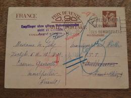 1940 Entier Postal Iris - Cachet De Controle Allemand Gepruft, Aigle Du Reich, Taxe, Montpellier Pour Mulhouse, Vignette - Marcophilie (Lettres)