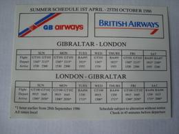 BRITISH AIRWAYS / GB AIRWAYS. SUMMER SCHEDULE - ENGLAND, 1986. - Timetables