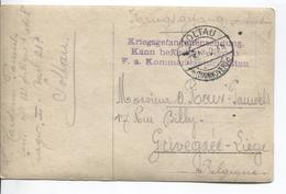 2934/ CP Groupe De Soldats PDG-POW C.Soltau 1915 Griffe Mauve Censure V.Grivegnée - Weltkrieg 1914-18
