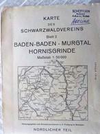 Karte 1 /50 000° BADEN-BADEN, MURGTAL - HORNISGRINDE- 1956 ( Buhl, Gernsbach, Enzklösterle, Gaggenau, Achern, - Cartes Topographiques