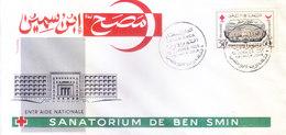 MOROCCO : FIRST DAY COVER : 01-01-1956 : RED CROSS SANATORIUM DE BEN SMIN, ENTR AIDE NATIONALE - Morocco (1956-...)