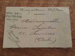1916 - Franchise Militaire - Cachet Hopital Camp De Chalons, Envoi De L'Infirmier 6è Section, Charles Sainton à Savières - Postmark Collection (Covers)