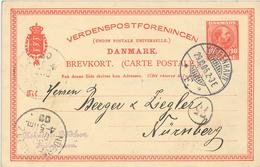 Ganzsache Kopenhagen Nach Nürnberg - 1905-12 (Frederik VIII)