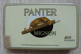 AC - PPPANTER MIGNON 50 CIGARS TOBACCO EMPTY VINTAGE TIN BOX NEDERLANDS - Empty Tobacco Boxes