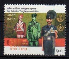 INDIA, 2018, MNH, MILITARY, SOLDIERS, 3rd BATTALIONTHE RAJPUTANA RIFLES,1v - Militaria