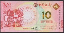 Macau 10 Patacas 2016 P119 Bank Of China  UNC - Macau