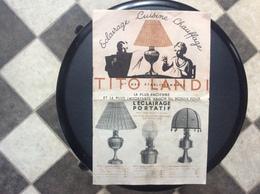 DOCUMENT COMMERCIAL CATALOGUE TITO LAND *Eclairage *Cuisine *Chauffage *Lampes *Rechaud *Lanternes Etc...ANNEE 1937 - Petits Métiers