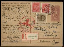 Hungary 1943 Upfranked Registered Postal Card To Lemberg GGov Poland Cover 91450 - Timbres