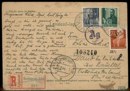 Hungary Nov 1944 Upfranked Registered Postal Card To Daub Sudetenland Pola 91451 - Timbres